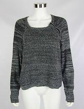 Victorias Secret Womens Sweater Black Gray Textured Speckled Neck Zip Size Large