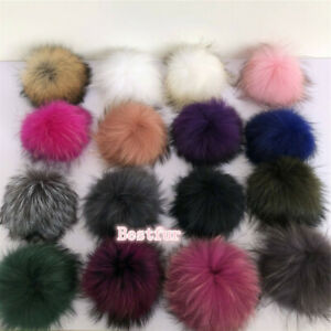 """15cm/6"""" Large Real Raccoon Fur Pompom Ball W Snap Button Hat Cap DIY Accessories"""