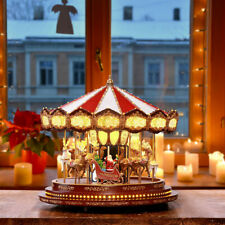 Pré éclairé DEL Village de Noël scène Ornements Grande Roue Carrousel musical Snow