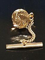 Antique/Vintage Gold Patterned Faceted Ocatagon Shaped Tie Tack/Lapel Pin