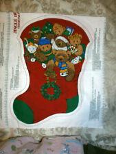 NEW Jingle Bell Santa Bears Christmas Stocking Fabric Panel, By Cranston Co,