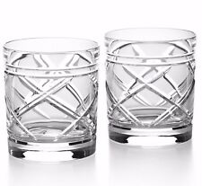 Set of (2) Ralph Lauren Home- Brogan Double Old Fashion Crystal Glasses Tumblers