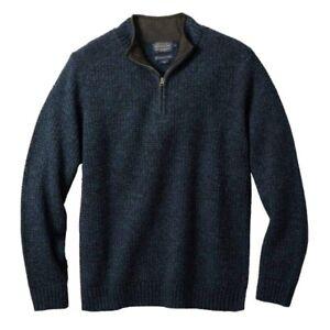 Men's Pendleton Shetland Quarter-Zip Sweater | Sz Small | Color: Indigo Heather