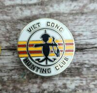 Vintage US Military Vietnam Viet Cong Hunting Club Silver Tone Lapel Hat Pin