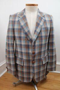 Vtg 60s Ayres Brown Blue Check Wool Double Vent Sport Coat Jacket Philadelphia