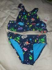 Girls Justice Galaxy Alien High Neck Bikini Swim Suit Size 10