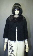 True Vintage 50s Cropped Faux Curly Lamb Jacket Coat With Fur Collar