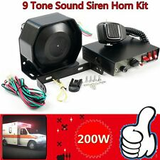 200W 8Sound Loud Car Warning Alarm Police Fire Siren Horn Pa Speaker Mic System~