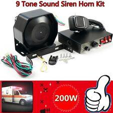 200W 8Sound Loud Car Warning Alarm Police Fire Siren Horn PA Speaker MIC System~