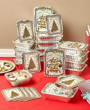 24 Holiday Goodie Aluminum Containers Christmas Theme Lids Leftovers Cookies