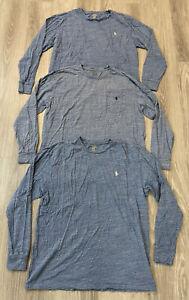 Lot of 3 Polo Ralph Lauren Long Sleeve T-Shirt Shirts Blue Men's Size Large