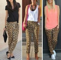New Fashion Women Ladies Leopard Print Trousers Layered Palazzo Casual Pants