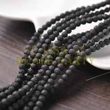100pcs 4mm Round Natural Stone Loose Gemstone Beads Black Lava Stone