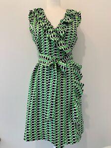 NWT Kate Spade Silk Green Blue Wrap Dress Sz 8