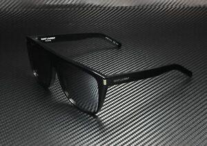 SAINT LAURENT YSL 1 001 Rectangular Black Shiny Black Grey 59m Unisex Sunglasses