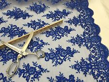 Mesh lace fabric Corded Flowers Embroider With Sequins Royal Blue by the yard.
