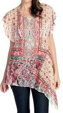 NEW One World Knit & Woven  Lace Back Applique Asymmetrical Top - Sz M
