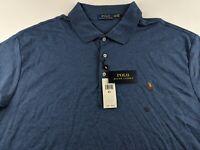 NEW Polo Ralph Lauren Classic Men 3XLT 3XL Tall Blue Heather Polo Shirt Soft B