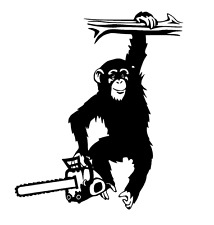FUNNY 'MONKEY ARBORIST' Sticker/Decal Tree Surgery/Forestry/Tree Surgeon use.