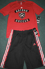 Nwt Adidas Boys Xl Red/Black/White Soccer Climalite Shorts Set Xl 18