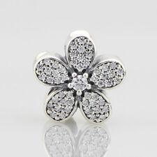 European Pandora Silver Charm dazzling daisy, clear cz