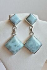 Sterling Silver Blue Larimar Square Two-stone Dangle Post Earrings