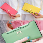 Fashion Women's Soft PU Leather Clutch Bowknot Long Wallet Card Purse Handbag