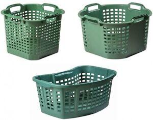 Gartenkorb Mehrzweckkorb Wäschekorb Korb gelocht mit Griffen Grün Kunststoff Top