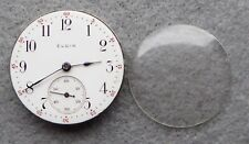 Gents steel Elgin trench watch movement for repair, red 5 minute markers, winds