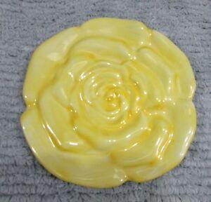 "Teleflora Gifts 6"" dia round Yellow Rose porcelain teapot trivet FREE S/H"