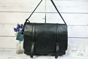 "RADLEY Large ""Belvedere"" Crossbody Work Laptop Flap Bag Black Leather ~ RRP £189"