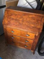 Antique Burled Wood Walnut Drop Front Secretary Vintage Desk By BVS 1960?