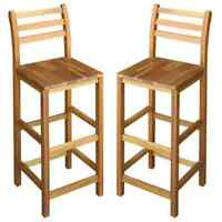 2x Solid Wood Bar Chair Indoor Outdoor High Stool Bistro Pub Restaurant Benches