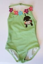 New Gymboree Jungle Gem Green One Piece Floral Monkey Girls Swimsuit 3 - 6 Month