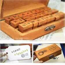 30pcs Retro Wooden Box Vintage Craft Alphabet Letter Number Rubber Stamp AU