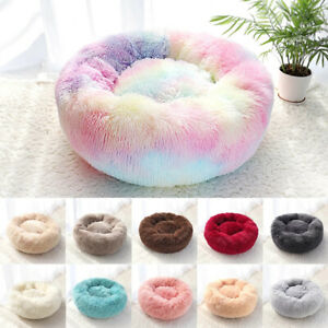 Round Plush Pet Dog Cat Bed Fluffy Soft Warm Calming Bed Sleeping Kennel Nest