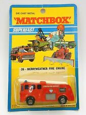 VINTAGE 1971 RARE SEALED MATCHBOX LESNEY SUPERFAST #35 MERRYWEATHER FIRE ENGINE