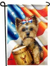 YORKIE painting GARDEN FLAG Dog ART 4th of July Independence Yorkshire Terrier