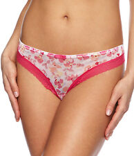 Gossard Frenzy Thong Pink Silver Floral Shimmer Lace Knickers Pants 8636 X/large 16-18
