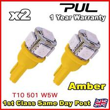 2 x T10 5 SMD LED light Bulbs W5W 501 194 Yellow Orange Amber