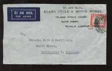 MALAYA c1930 ADVERTISING...KLANG CYCLE + MOTOR WORKS AIRMAIL ENVELOPE