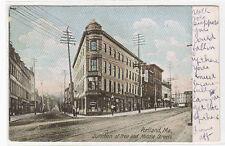 Free & Middle Streets Portland Maine 1907 postcard