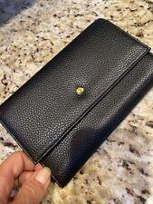 Burton Leather Wallet Id Holder Passport Case Black W/ Snap Closure NWOT