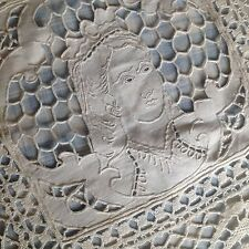 "ANTIQUE FRENCH LINEN TABLECLOTH- RICHELIEU- BOBBIN LACE- ""ANNE DE BRETAGNE"""