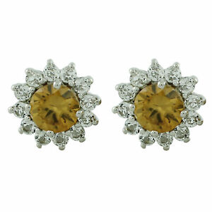 Casual Earrings with Natural Brown Zircon 14k White Gold 3.69 Ct. Gemstone