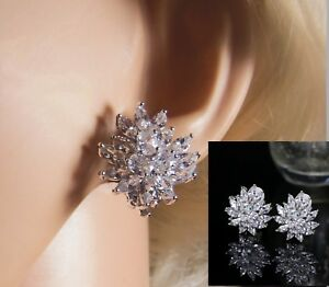 Beautiful, Cubic Zirconia, Floral Clip On Earrings