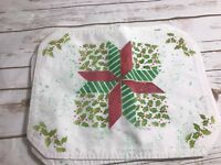 """SET OF 7 VINTAGE Cloth  CHRISTMAS PLACEMATS 12"""" X 16"""""""
