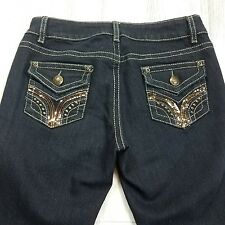 2b bebe Women's Embellished Bling Blue Denim Low Rise Boot Jeans Size 26 28 X 31