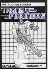 Transformers Original G1 1986 Combaticon Onslaught Instructions Manual Booklet