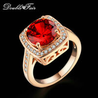 CZ Red RhineStone Wedding Finger Rings 18K Rose Gold Plated Jewelry For Women
